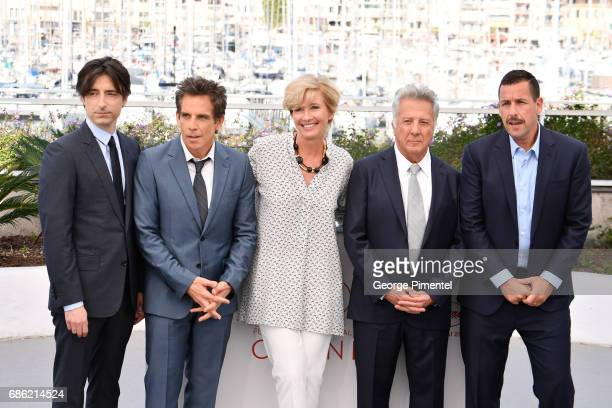 Director Noah Baumbach with actors Ben Stiller Emma Thompson Dustin Hoffman and Adam Sandler attend the 'The Meyerowitz Stories' photocall during the...