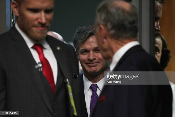 Director nominee Christopher Wray arrives at his confirmation hearing before the Senate Judiciary Committee July 12 2017 on Capitol Hill in...