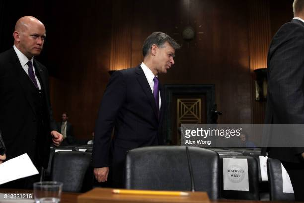 FBI director nominee Christopher Wray arrives to testify during his confirmation hearing before the Senate Judiciary Committee July 12 2017 on...