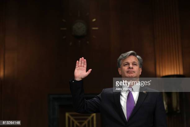 FBI director nominee Christopher Wray is sworn in during his confirmation hearing before the Senate Judiciary Committee July 12 2017 on Capitol Hill...
