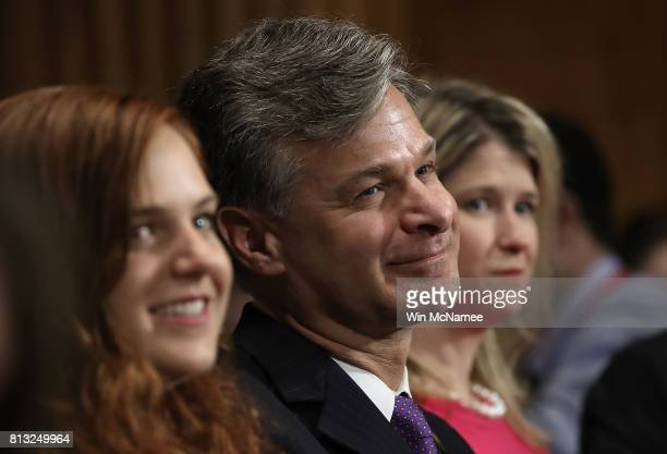 FBI director nominee Christopher Wray listens to opening statements by senators during his confirmation hearing before the Senate Judiciary Committee...