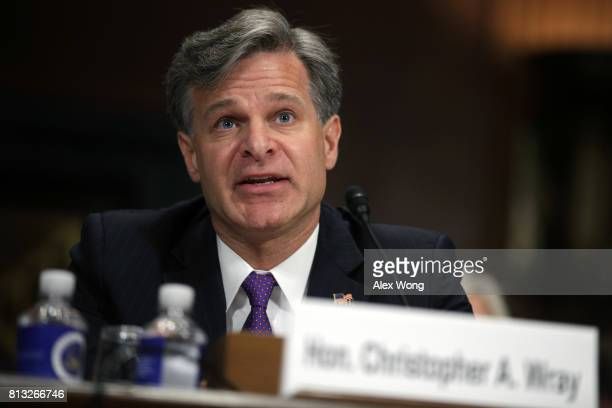 FBI director nominee Christopher Wray testifies during his confirmation hearing before the Senate Judiciary Committee July 12 2017 on Capitol Hill in...