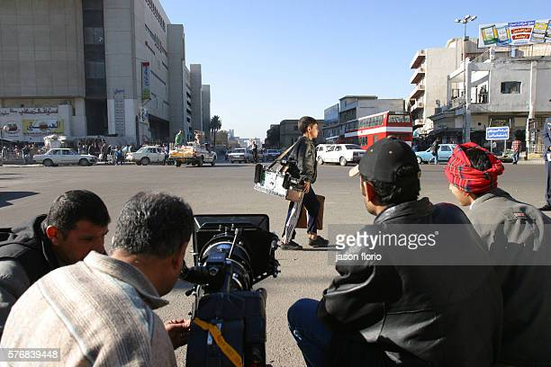Director Oday Rasheed and crew shooting a scene from his film 'Underexposed' The boy in the scene thirteenyearold Marwan Waleed was cast on the...