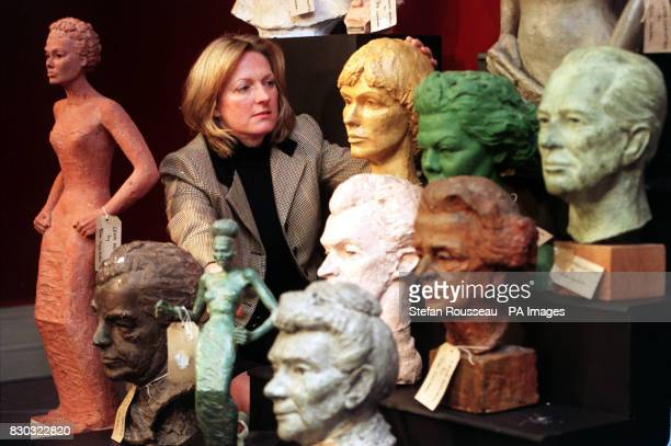 Director of 19th 20th Century Sculpture at Sotheby's Auction House Diana Keith Neal admires part of the stage screen and music star sculpture...
