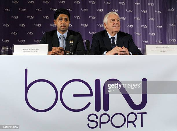 Director of Al Jazeera Sports and president of beIN Sport in France Nasser Al Khelaifi and beIN Sport Vice President in charge of programs Charles...
