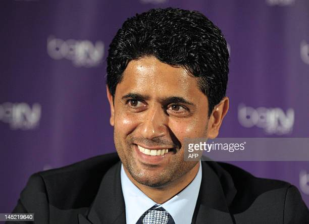 Director of Al Jazeera Sports and president of beIN Sport in France Nasser Al Khelaifi reacts during a press conference in Paris on May 24 to unveil...