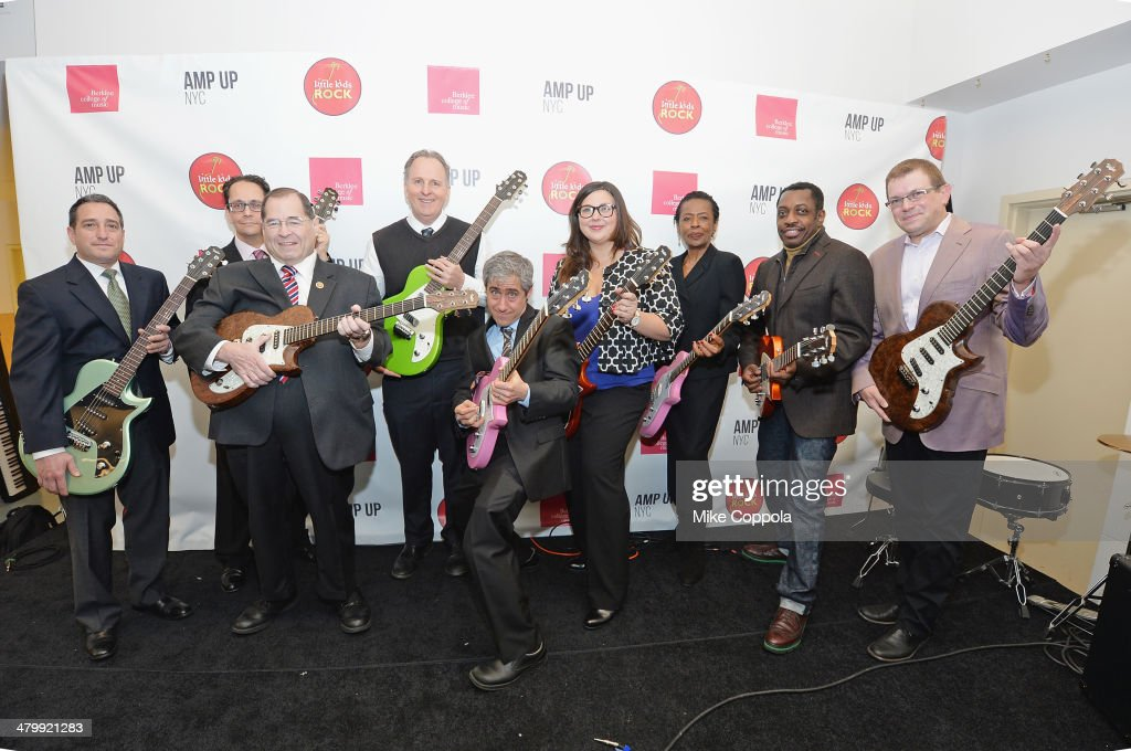 Director of Amp Up NYC Charly Schwartz, Executive Director of the Office of Arts and Special Projects, Paul King, Congressman from the Tenth congressional District of New York, Jerry Nadler, President of Berklee College of Music, Roger Brown, Executive Director Little Kids Rock, David Wish, Director of Music for New York City Department of Education, Barbara Murray, Producer/musician Steve Jordan, and Vice President for Education Outreach and Social Entrepreneurship, Lee Whitmore attend the Little Kids Rock & Berklee College of Music Launch Amp Up NYC event on March 21, 2014 in New York City.