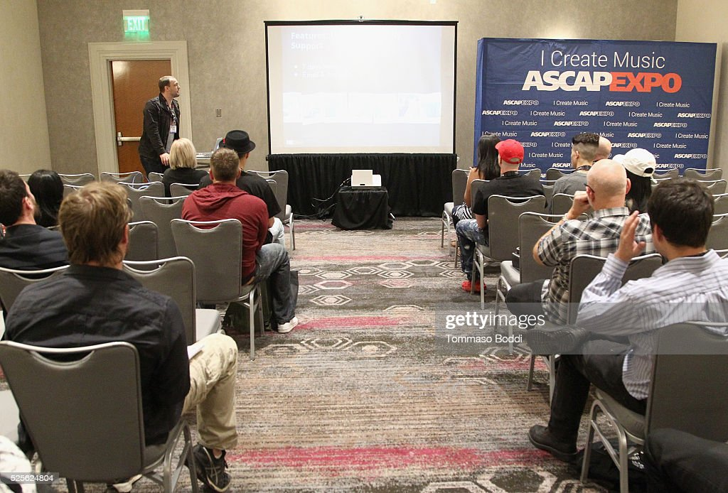 Director of Artist & Industry Outreach at Bandzoogle Dave Cool speaks during the Bandzoogle sponsor session during the 2016 ASCAP 'I Create Music' EXPO on April 28, 2016 in Los Angeles, California.