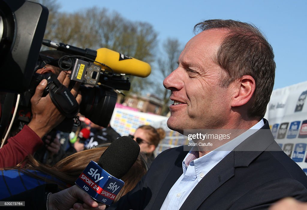 Director of ASO and Le Tour de France <a gi-track='captionPersonalityLinkClicked' href=/galleries/search?phrase=Christian+Prudhomme&family=editorial&specificpeople=546988 ng-click='$event.stopPropagation()'>Christian Prudhomme</a> answers to the media following Paris-Roubaix 2016 cycling race at Velodrome of Roubaix on April 10, 2016 in Roubaix, France.