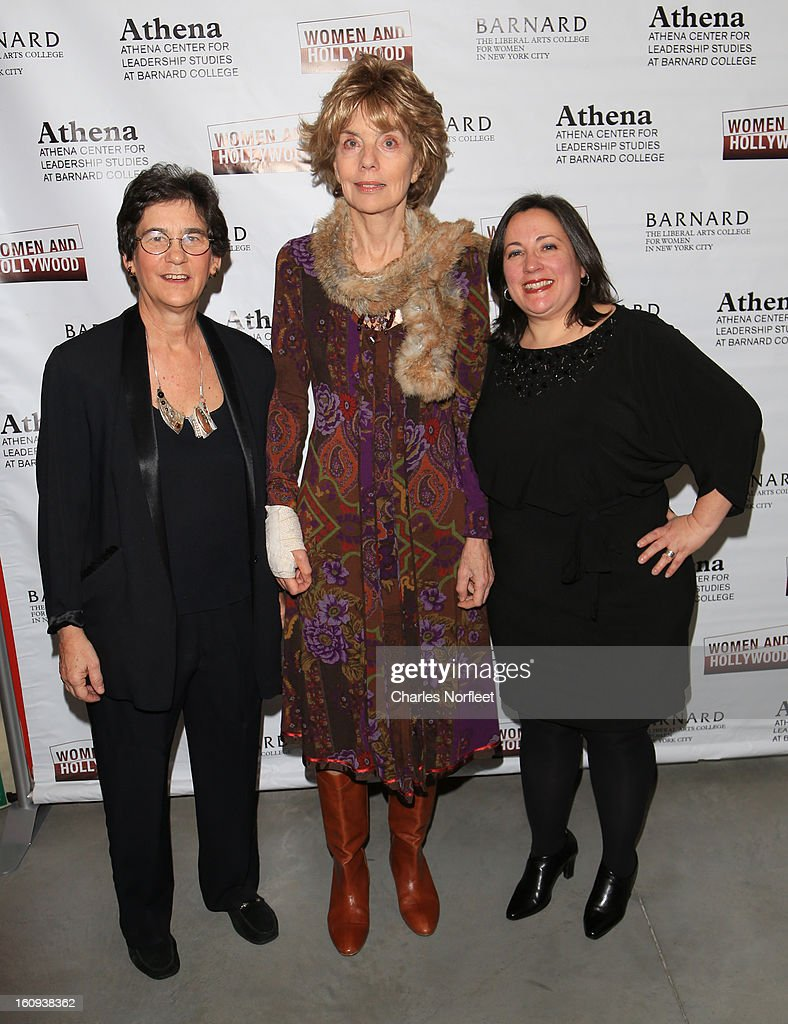 Director of Barnard College's Athena Center for Leadership Studies Kathryn Kolbert, film critic/author Molly Haskell, and Founder of Women & Hollywood Melissa Silverstein, attend The 2013 Athena Film Festival Opening Night Reception at The Diana Center At Barnard College on February 7, 2013 in New York City.