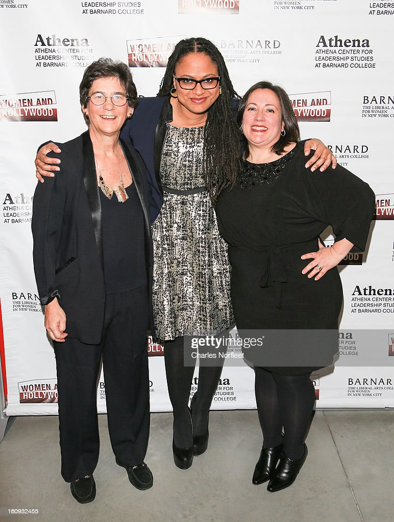 Director of Barnard College's Athena Center of Leadership Studies, Kathryn Kolbert, filmmaker/film distributor Ava DuVernay, and co-founder of Women & Hollywood, Melissa Silverstein attend The 2013 Athena Film Festival Opening Night Reception at The Diana Center At Barnard College on February 7, 2013 in New York City.
