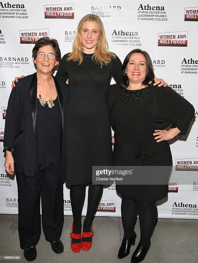 Director of Barnard College's Athena Center of Leadership Studies, Kathryn Kolbert, actress <a gi-track='captionPersonalityLinkClicked' href=/galleries/search?phrase=Greta+Gerwig&family=editorial&specificpeople=4249808 ng-click='$event.stopPropagation()'>Greta Gerwig</a>, and co-founder of Women & Hollywood, Melissa Silverstein attend The 2013 Athena Film Festival Opening Night Reception at The Diana Center At Barnard College on February 7, 2013 in New York City.