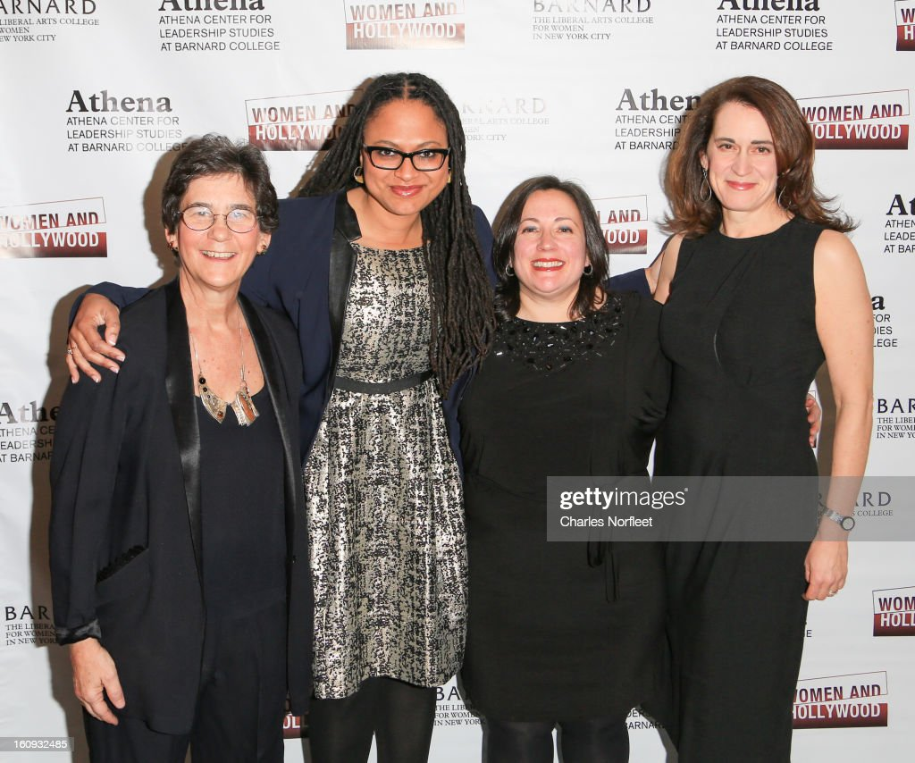 Director of Barnard College's Athena Center of Leadership Studies, Kathryn Kolbert, filmmaker/film distributor Ava DuVernay, co-founder of Women & Hollywood, Melissa Silverstein, and Barnard College President Debora Spar attend The 2013 Athena Film Festival Opening Night Reception at The Diana Center At Barnard College on February 7, 2013 in New York City.
