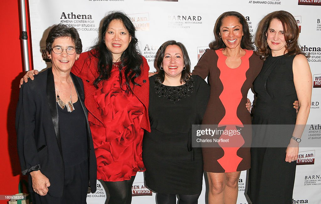 Director of Barnard College's Athena Center of Leadership Studies, Kathryn Kolbert, Executive Director of Film Society of Lincon Center Rose Kou. co-founder of Women & Hollywood, Melissa Silverstein, television producer <a gi-track='captionPersonalityLinkClicked' href=/galleries/search?phrase=Debra+Martin+Chase&family=editorial&specificpeople=876964 ng-click='$event.stopPropagation()'>Debra Martin Chase</a>, and Barnard College President Debora Spar attend The 2013 Athena Film Festival Opening Night Reception at The Diana Center At Barnard College on February 7, 2013 in New York City.