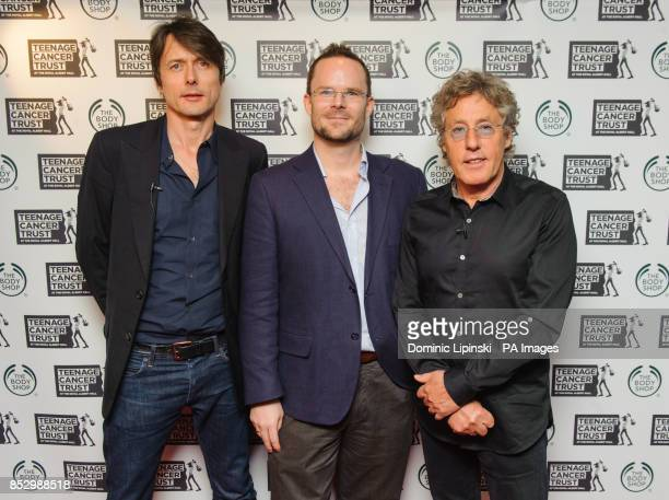 Director of Brand and Values at The Body Shop Sam Thomson with Brett Anderson of Suede and Roger Daltry of The Who at a press conference at the...