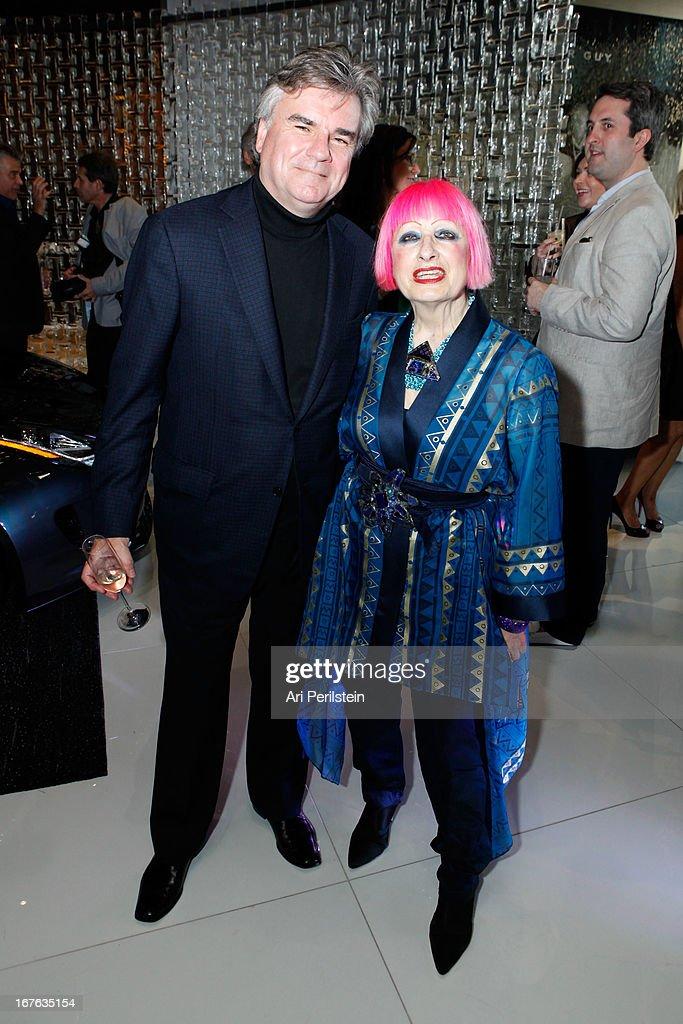 Director of BritWeek Robert Peirce and Fashion designer Zandra Rhodes attends Christopher Guy Britweek Event Honoring Jaguar Creative Director Ian Callum at Christopher Guy Beverly Hills on April 27, 2013 in Beverly Hills, California.