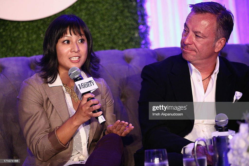 Director of Communications at Ustream Joellen Ferrer and President & Owner Gray Media Tim Gray speak onstage at Variety's Purpose: The Faith And Family Summit in Association with Rogers and Cowan at Four Seasons Hotel Los Angeles on June 21, 2013 in Beverly Hills, California.