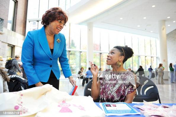 Director of Communications for the American Diabetes Association Ruth Hunt and Olympic Athlete Dominique Dawes attends the free diabetes testing at...