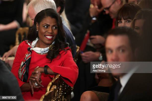 Director of Communications for the White House Public Liaison Office Omarosa Manigault waits for the beginning of an event highlighting the opioid...