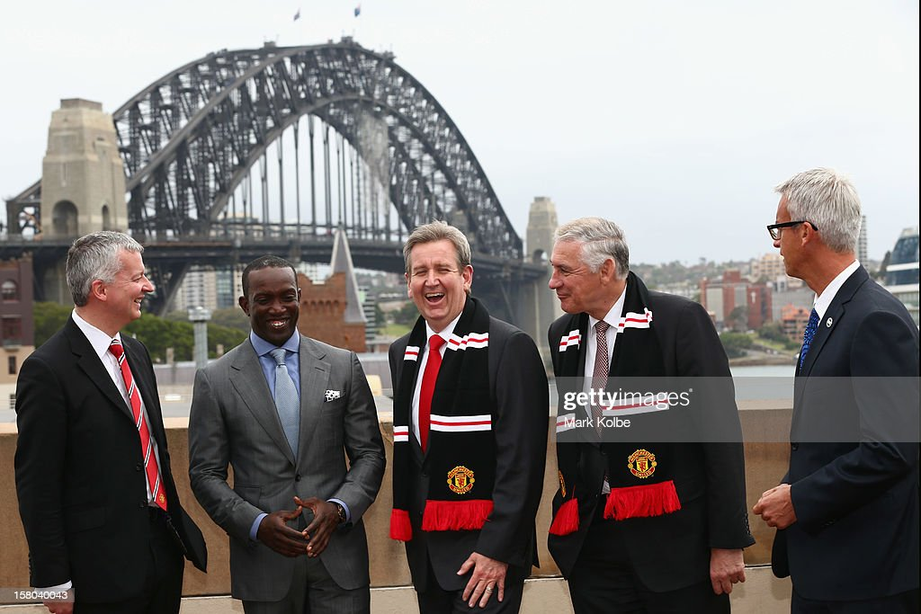 Director of Communications from Manchester United Phil Townsend, Dwight Yorke, NSW Premier Barry O'Farrell, George Souris MP and FFA CEO David Gallop pose after a press conference at Museum of Contemporary Art on December 10, 2012 in Sydney, Australia. Manchester United will play an A-League All-Stars match in Sydney on July 20, 2013.