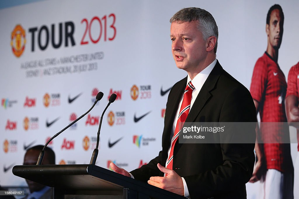 Director of Communications from Manchester United Phil Townsend speaks to the media during a press conference at Museum of Contemporary Art on December 10, 2012 in Sydney, Australia. Manchester United will play an A-League All-Stars match in Sydney on July 20, 2013.