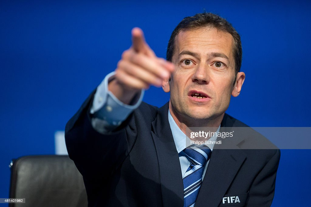 Director of Communications Nicolas Maingot gestures during a press conference at the Extraordinary FIFA Executive Committee Meeting at the FIFA headquarters on July 20, 2015 in Zurich, Switzerland.