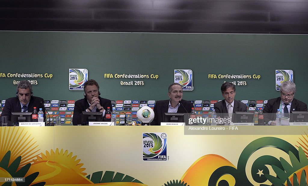 Director of Communications & Public Affairs of FIFA Walter De Gregorio, FIFA secretary general Jerome Valcke, Sports Minister of Brazil Aldo Rebelo, Executive Sports Secretary Luis Fernandes and CEO of the LOC Ricardo Trade during a FIFA Media Briefing & 2014 Host City Event as part of the FIFA Confederations Cup Brazil 2013 at Maracana Stadium on June 24, 2013 in Rio de Janeiro, Brazil.