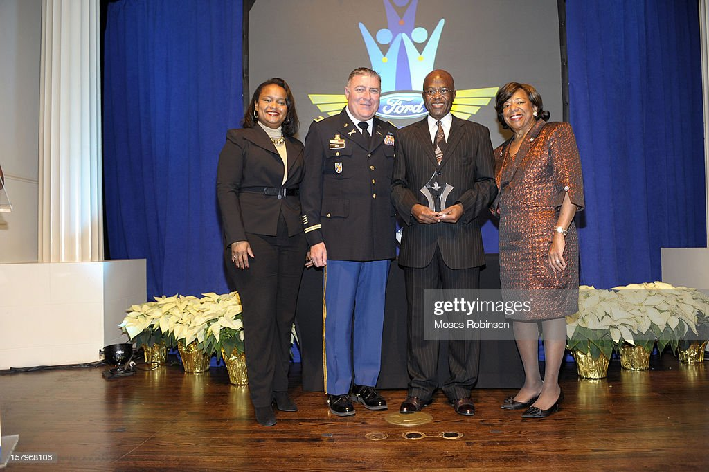 Director of Community Development for Ford Motor Company Pamela Alexander, Colonel John King, John Bailey and Deborah Richardson attend the 2012 Ford Freedom Usung Awards ceremony at Historic Academy of Medicine at Georgia Institute of Technology on December 7, 2012 in Atlanta, Georgia.