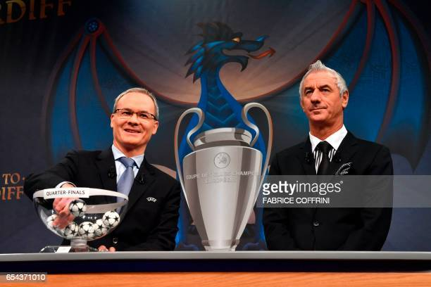 UEFA director of competitions Giorgio Marchetti and Liverpool football legend and UEFA Champions League Final Ambassador Ian Rush take part in the...