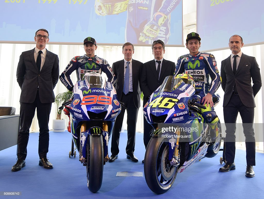 Director of Consumer Business in Catalonia at Movistar Bruno Vilarasau, MotoGP rider <a gi-track='captionPersonalityLinkClicked' href=/galleries/search?phrase=Jorge+Lorenzo&family=editorial&specificpeople=543869 ng-click='$event.stopPropagation()'>Jorge Lorenzo</a> of Spain, Yamaha Motor Racing Managing Director <a gi-track='captionPersonalityLinkClicked' href=/galleries/search?phrase=Lin+Jarvis&family=editorial&specificpeople=6489029 ng-click='$event.stopPropagation()'>Lin Jarvis</a>, Yamaha's MotoGP group leader Kouichi Tsuji, MotoGP rider <a gi-track='captionPersonalityLinkClicked' href=/galleries/search?phrase=Valentino+Rossi&family=editorial&specificpeople=157603 ng-click='$event.stopPropagation()'>Valentino Rossi</a> of Italy and Yamaha MotoGP Team Director Massimo attend the Movistar Yamaha 2016 MotoGP team presentation on January 18, 2016 in Barcelona, Spain.