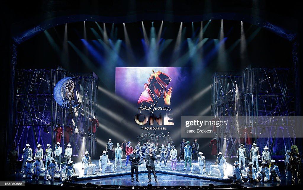 Director of Creation Welby Altidor (center, L) and writer and director Jamie King (center, R) introduce a sneak peek of 'Michael Jackson ONE' by Cirque du Soleil at Mandalay Bay Resort & Casino on May 7, 2013 in Las Vegas, Nevada.