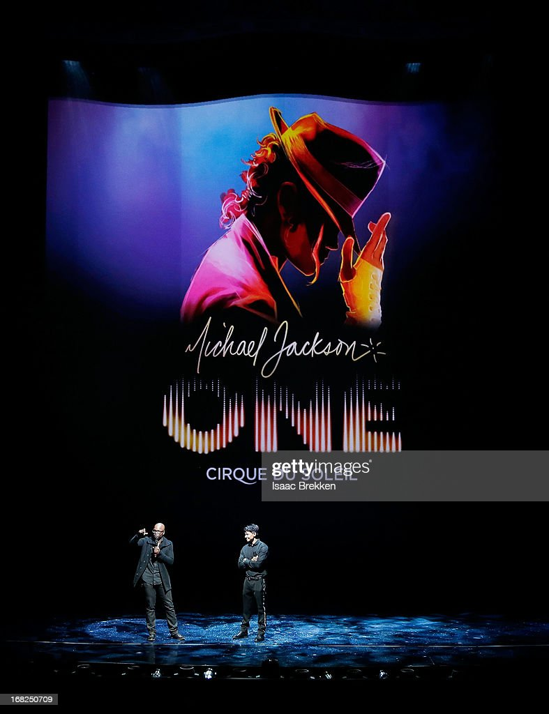 Director of Creation Welby Altidor (L) and writer and director Jamie King introduce a sneak peek of 'Michael Jackson ONE' by Cirque du Soleil at Mandalay Bay Resort & Casino on May 7, 2013 in Las Vegas, Nevada.