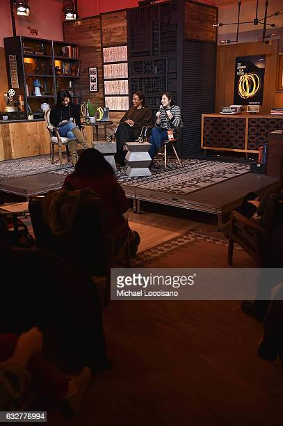 Director of Creative Producing at Sundance Institute Anne Lai Filmmakers Maggie Betts and Eliza Hittman speaks during the Cinema Cafe at Filmmaker...