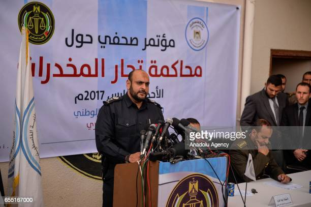 Director of Drug Enforcement Administration in Gaza Ahmed alKudve delivers a speech during a press conference at courtmartial house after...