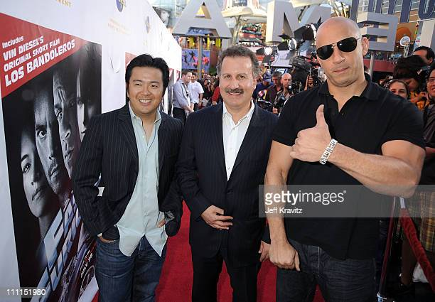 Director of 'Fast Furious' Justin Lin President of Universal Studios Home Entertainment Craig Kornblau and director/writer Vin Diesel attend...