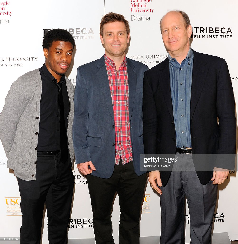 Director of Feature Programming at the Tribeca Film Institute Tamir Muhammad, Tribeca Film Institute's Sloan Student Grand Jury Award winner Grainger David and Alfred P. Sloan Foundation's Doron Weber attend Tribeca Film Institute's Sloan Student Grand Jury Award Cocktails at RDV on April 5, 2012 in New York City.
