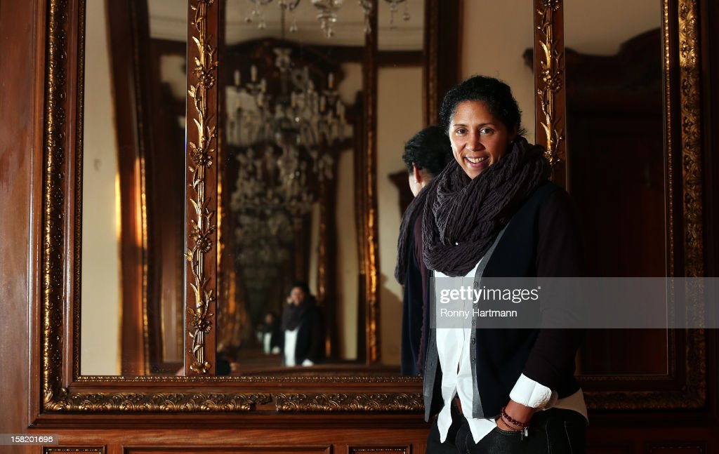 Director of German Football Association (DFB) Steffi Jones poses prior to the DFB Women's Indoor Trophy Draw Ceremony on December 11, 2012 in Magdeburg, Germany.