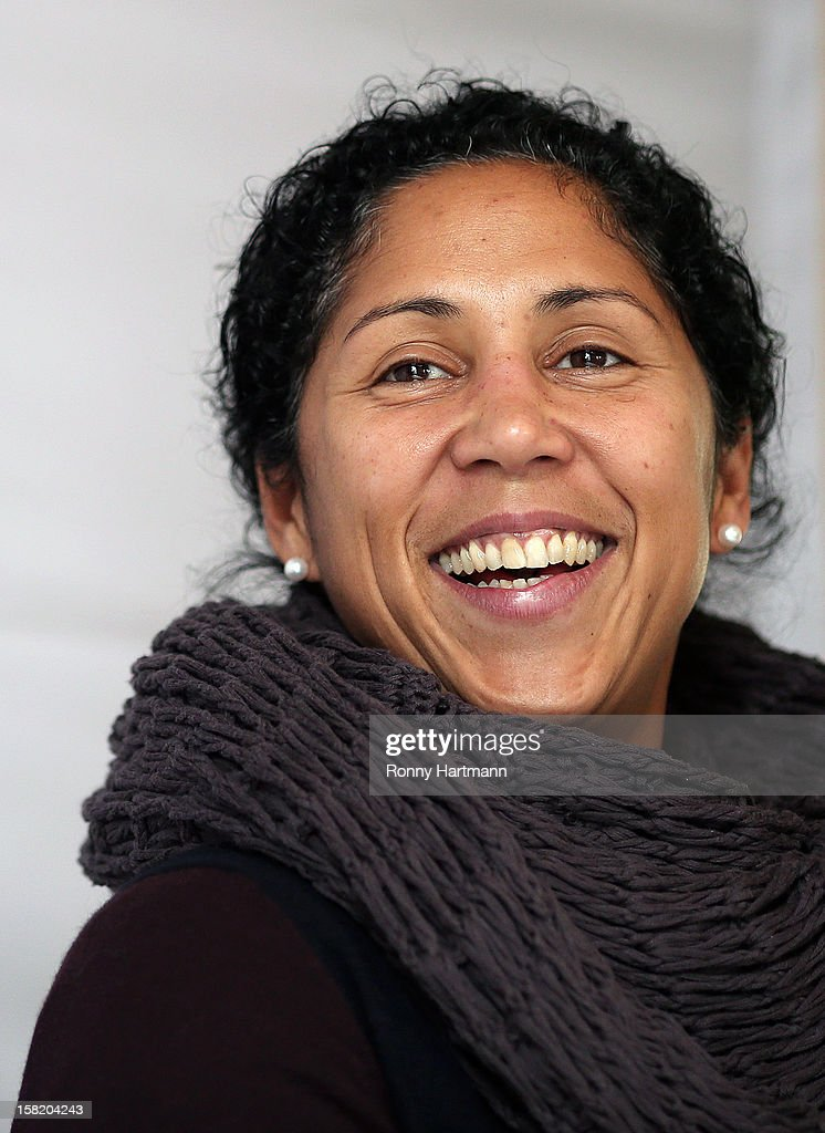 Director of German Football Association (DFB), Steffi Jones, smiles during the DFB Women's Indoor Trophy Draw Ceremony on December 11, 2012 in Magdeburg, Germany.