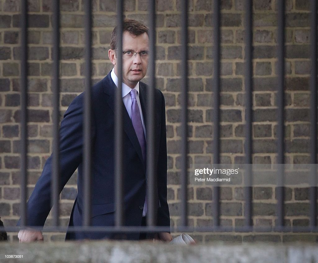 Director of Government Communtications <a gi-track='captionPersonalityLinkClicked' href=/galleries/search?phrase=Andy+Coulson&family=editorial&specificpeople=734849 ng-click='$event.stopPropagation()'>Andy Coulson</a> arrives at the back entrance to Downing Street on September 7, 2010 in London, England. Mr Coulson is facing further criticism relating to his tenure as editor of The News of The World newspaper over allegations of illegal phone tapping.