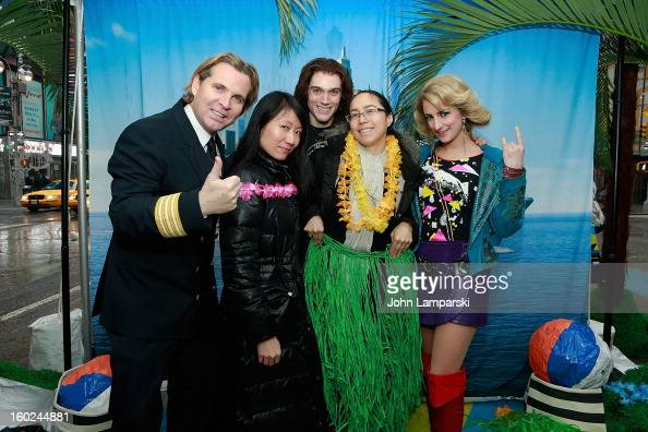 Director of Hotel Operations Klaus Lugmaier Actors Justin Matthew SargentTessa Alves of rock of Ages and contest winners attend the Norwegian Warming...