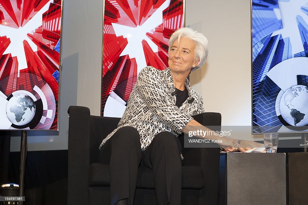 Director of IMF <a gi-track='captionPersonalityLinkClicked' href=/galleries/search?phrase=Christine+Lagarde&family=editorial&specificpeople=566337 ng-click='$event.stopPropagation()'>Christine Lagarde</a> invited at the LCI TV's talk show broadcast live on the website TF1 NEWS on October 16, 2012 in Boulogne Sur Seine, France.