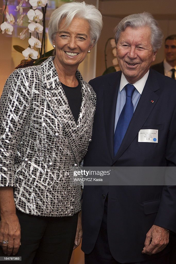 Director of IMF <a gi-track='captionPersonalityLinkClicked' href=/galleries/search?phrase=Christine+Lagarde&family=editorial&specificpeople=566337 ng-click='$event.stopPropagation()'>Christine Lagarde</a> invited at the LCI TV's talk show broadcast live on the website TF1 NEWS, with Bruno Roger from Lazard bank gn on October 16, 2012 in Boulogne Sur Seine, France.