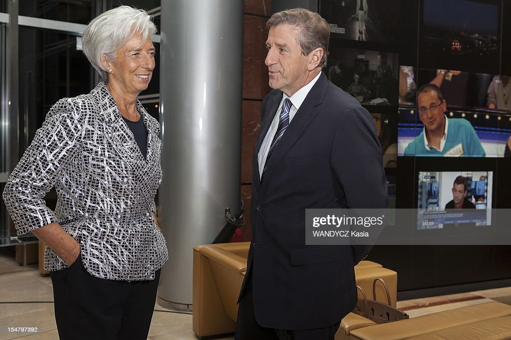 Director of IMF <a gi-track='captionPersonalityLinkClicked' href=/galleries/search?phrase=Christine+Lagarde&family=editorial&specificpeople=566337 ng-click='$event.stopPropagation()'>Christine Lagarde</a> invited at the LCI TV's talk show broadcast live on the website TF1 NEWS, with the Director of LCI TV Eric Revel on October 16, 2012 in Boulogne Sur Seine, France.