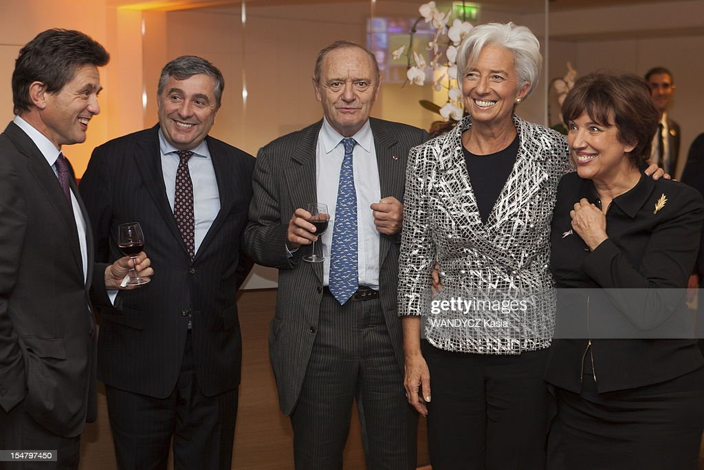 Director of IMF <a gi-track='captionPersonalityLinkClicked' href=/galleries/search?phrase=Christine+Lagarde&family=editorial&specificpeople=566337 ng-click='$event.stopPropagation()'>Christine Lagarde</a> invited at the LCI TV's talk show broadcast live on the website TF1 NEWS, with her guests (L-R) Henri de Castries, CEO of Axa, Jean-François Cirelli, CEO of Gdf Suez, <a gi-track='captionPersonalityLinkClicked' href=/galleries/search?phrase=Yves-Thibault+de+Silguy&family=editorial&specificpeople=599356 ng-click='$event.stopPropagation()'>Yves-Thibault de Silguy</a>, ex CEO of Vinci and <a gi-track='captionPersonalityLinkClicked' href=/galleries/search?phrase=Roselyne+Bachelot&family=editorial&specificpeople=2369544 ng-click='$event.stopPropagation()'>Roselyne Bachelot</a> on October 16, 2012 in Boulogne Sur Seine, France.