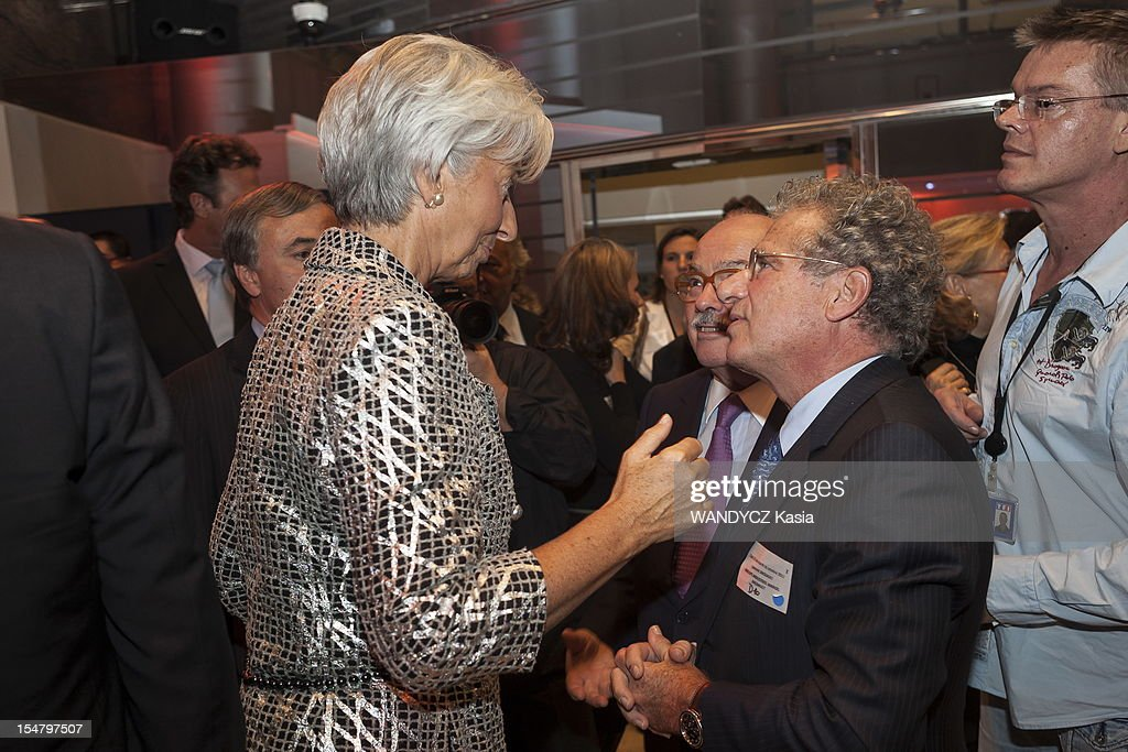 Director of IMF Christine Lagarde invited at the LCI TV's talk show broadcast live on the website TF1 NEWS, with Laurent Dassault on October 16, 2012 in Boulogne Sur Seine, France.