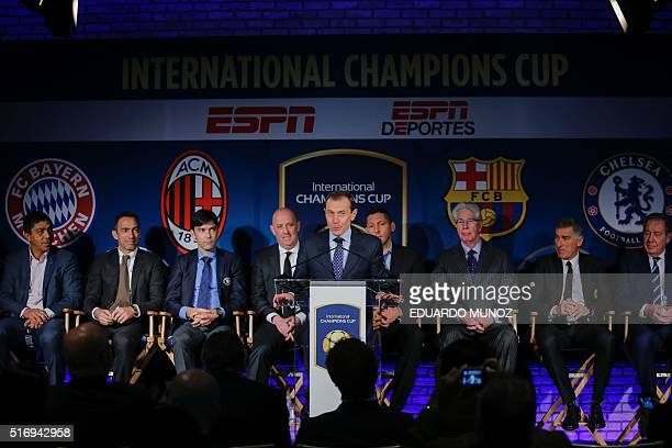 Director of Institutional Relations for Real Madrid Emilio Butragueno speaks during a press conference to announce the teams cities venues matchups...