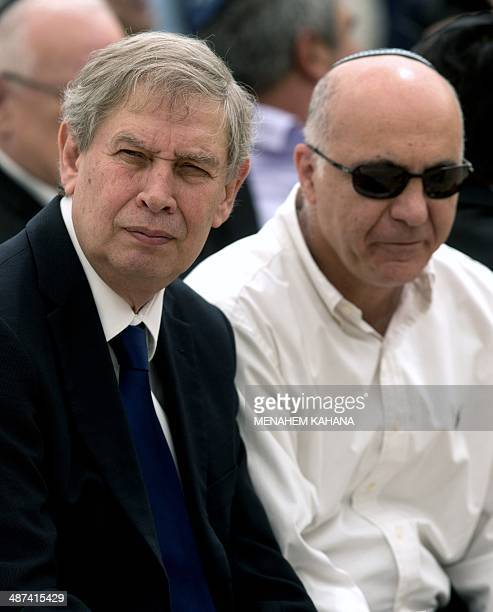 Director of Israel's Mossad spy agency Tamir Pardo and head of the Israeli internal security agency Shin Bet Yoram Cohen attend a ceremony for the...