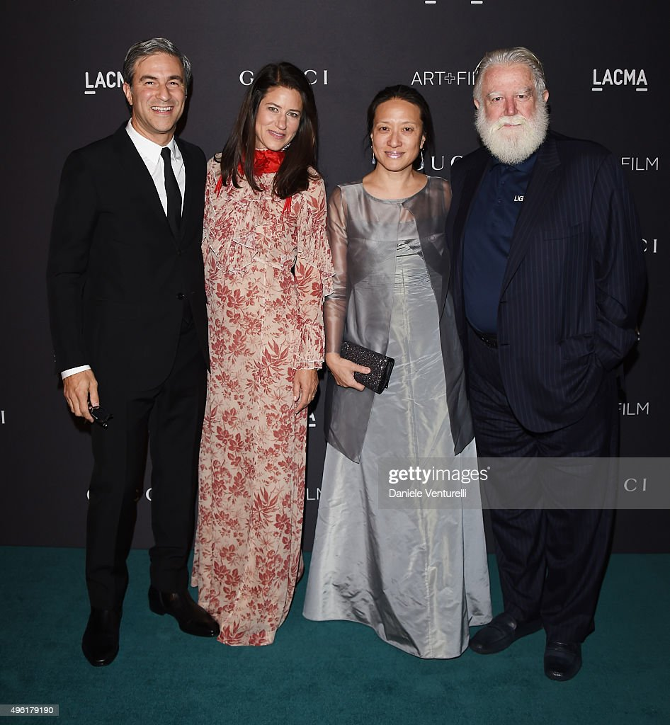 Director of LACMA Michael Govan wearing Gucci Katherine Ross wearing Gucci artist KyungLim Lee and honoree James Turrell attend LACMA 2015 ArtFilm...