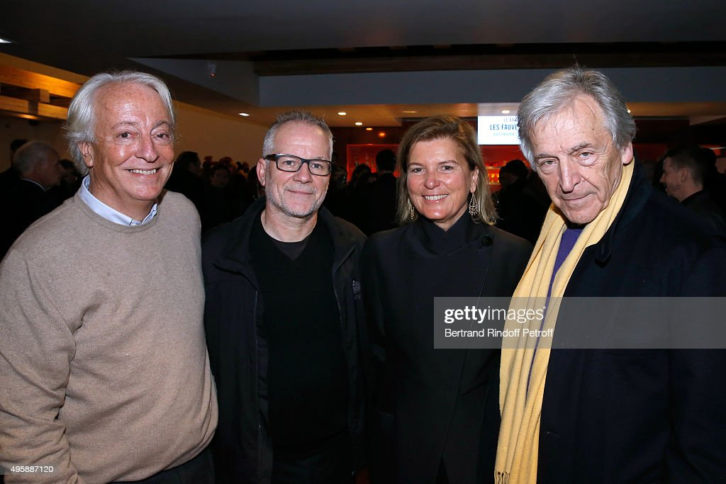 Director of 'Le Grand Rex' Bruno Blanckaert, Cannes Film Festival Delegate General <a gi-track='captionPersonalityLinkClicked' href=/galleries/search?phrase=Thierry+Fremaux&family=editorial&specificpeople=618039 ng-click='$event.stopPropagation()'>Thierry Fremaux</a>, CEO of the 'Jerome Seydoux - Pathe Foundation' Sophie Seydoux and Director Constantin <a gi-track='captionPersonalityLinkClicked' href=/galleries/search?phrase=Costa-Gavras&family=editorial&specificpeople=213531 ng-click='$event.stopPropagation()'>Costa-Gavras</a> attend the Cinema 'Les Fauvettes' : Opening Ceremony on November 5, 2015 in Paris, France.
