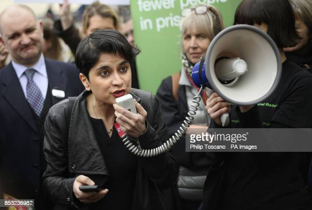 Director of Liberty Shami Chakrabarti speaking at a protest outside Pentonville prison in north London at the ban on sending books to prisoners